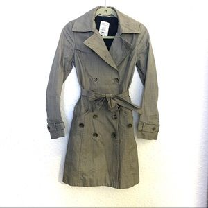 Rag & Bone Plaid Trench Coat Blazer Size 2 Gray